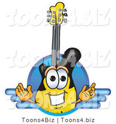 Vector Illustration of a Clipart Picture of a Guitar Mascot Logo with a Circle and Lines by Toons4Biz