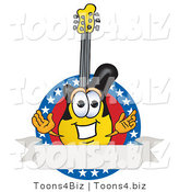 Vector Illustration of a Clipart Picture of a Guitar Mascot Logo with Stars and a Blank Label by Toons4Biz