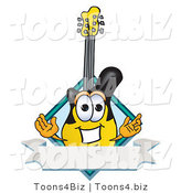 Vector Illustration of a Clipart Picture of a Guitar Mascot with a Blank Label by Toons4Biz