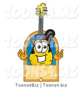 Vector Illustration of a Clipart Picture of a Guitar Mascot with a Blank Tan Label by Toons4Biz