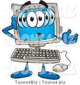 Vector Illustration of a Confused Cartoon Computer Mascot by Toons4Biz