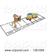 Vector Illustration of a Cougar School Mascot and Bus over Week Days, Symbolizing Being Proactive by Toons4Biz