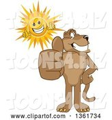 Vector Illustration of a Cougar School Mascot and Sun Holding Thumbs Up, Symbolizing Excellence by Toons4Biz