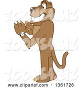 Vector Illustration of a Cougar School Mascot Checking His Watch for the Time, Symbolizing Being Dependable by Toons4Biz