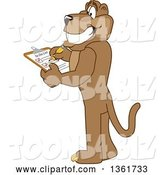 Vector Illustration of a Cougar School Mascot Completing a to Do List, Symbolizing Being Dependable by Toons4Biz