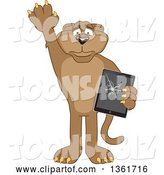 Vector Illustration of a Cougar School Mascot Confessing to Breaking a Tablet Computer, Symbolizing Integrity by Toons4Biz