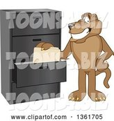Vector Illustration of a Cougar School Mascot Filing Folders, Symbolizing Organization by Toons4Biz