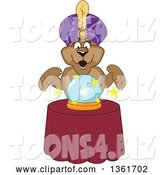 Vector Illustration of a Cougar School Mascot Fortune Teller Looking into a Crystal Ball, Symbolizing Being Proactive by Toons4Biz