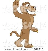 Vector Illustration of a Cougar School Mascot Gesturing for You to Follow, Symbolizing Leadership by Toons4Biz