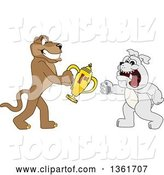 Vector Illustration of a Cougar School Mascot Giving a First Place Trophy to a Bulldog, Symbolizing Teamwork and Sportsmanship by Toons4Biz