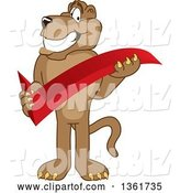 Vector Illustration of a Cougar School Mascot Holding a Check Mark, Symbolizing Acceptance by Toons4Biz