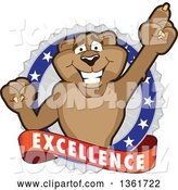 Vector Illustration of a Cougar School Mascot Holding up a Finger on an Excellence Badge by Toons4Biz