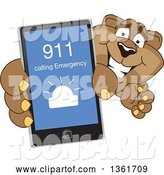 Vector Illustration of a Cougar School Mascot Holding up a Smart Phone and Calling an Emergency Number, Symbolizing Safety by Toons4Biz