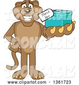 Vector Illustration of a Cougar School Mascot Holding up a Thank You Gift, Symbolizing Gratitude by Toons4Biz
