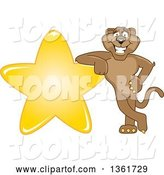 Vector Illustration of a Cougar School Mascot Leaning on a Star, Symbolizing Excellence by Toons4Biz