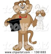 Vector Illustration of a Cougar School Mascot Magician Holding a Rabbit and Hat, Symbolizing Being Resourceful by Toons4Biz