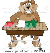Vector Illustration of a Cougar School Mascot Organizing and Doing Homework, Symbolizing Organization by Toons4Biz