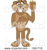 Vector Illustration of a Cougar School Mascot Pledging, Symbolizing Integrity by Toons4Biz