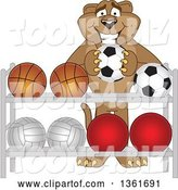 Vector Illustration of a Cougar School Mascot Putting a Soccer Ball Back on a Rack, Symbolizing Respect by Toons4Biz