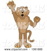 Vector Illustration of a Cougar School Mascot Raising a Hand to Volunteer or Lead, Symbolizing Responsibility by Toons4Biz