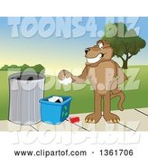 Vector Illustration of a Cougar School Mascot Recycling, Symbolizing Integrity by Toons4Biz