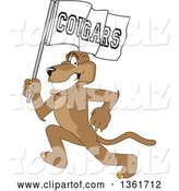 Vector Illustration of a Cougar School Mascot Running with a Team Flag, Symbolizing Pride by Toons4Biz