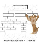 Vector Illustration of a Cougar School Mascot Setting up a Chart, Symbolizing Organization by Toons4Biz