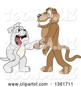 Vector Illustration of a Cougar School Mascot Shaking Hands with a Bulldog, Symbolizing Acceptance by Toons4Biz