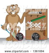 Vector Illustration of a Cougar School Mascot Showing a Toothpaste Dispenser Invention, Symbolizing Being Resourceful by Toons4Biz