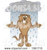 Vector Illustration of a Cougar School Mascot Shrugging in the Rain, Symbolizing Acceptance by Toons4Biz