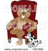 Vector Illustration of a Cougar School Mascot Sitting by a Dog, Symbolizing Responsibility by Toons4Biz