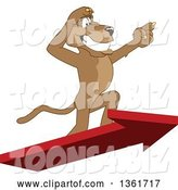 Vector Illustration of a Cougar School Mascot Standing on an Arrow and Pointing, Symbolizing Leadership by Toons4Biz