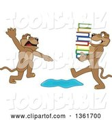 Vector Illustration of a Cougar School Mascot Warning Another That Is Carrying Books About a Puddle, Symbolizing Being Proactive by Toons4Biz