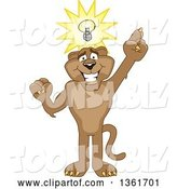 Vector Illustration of a Cougar School Mascot with an Idea, Symbolizing Being Resourceful by Toons4Biz