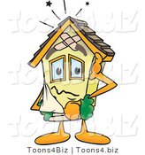 Vector Illustration of a Damaged Cartoon Home Mascot by Toons4Biz
