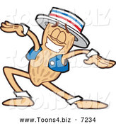 Vector Illustration of a Dancing Peanut Mascot Character by Toons4Biz