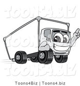 Vector Illustration of a Delivery Truck Mascot Pointing Upwards While Smiling and Driving Forward by Toons4Biz