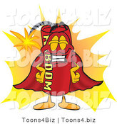 Vector Illustration of a Dynamite Stick Mascot Dressed As a Super Hero by Toons4Biz