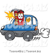 Vector Illustration of a Dynamite Stick Mascot Driving a Blue Car by Toons4Biz
