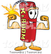 Vector Illustration of a Dynamite Stick Mascot Flexing His Arm Muscles by Toons4Biz