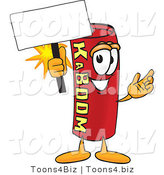 Vector Illustration of a Dynamite Stick Mascot Holding a Blank Sign by Toons4Biz