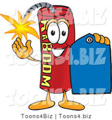 Vector Illustration of a Dynamite Stick Mascot Holding a Blue Sales Price Tag by Toons4Biz