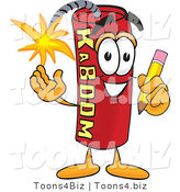Vector Illustration of a Dynamite Stick Mascot Holding a Pencil by Toons4Biz
