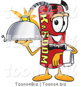 Vector Illustration of a Dynamite Stick Mascot Holding a Serving Platter by Toons4Biz