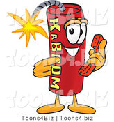 Vector Illustration of a Dynamite Stick Mascot Holding a Telephone by Toons4Biz