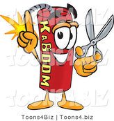 Vector Illustration of a Dynamite Stick Mascot Holding Scissors by Toons4Biz