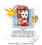 Vector Illustration of a Dynamite Stick Mascot on a Computer Screen by Toons4Biz