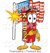 Vector Illustration of a Dynamite Stick Mascot Pledging Allegiance to the American Flag by Toons4Biz
