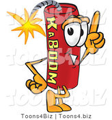 Vector Illustration of a Dynamite Stick Mascot Pointing Upwards by Toons4Biz