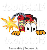 Vector Illustration of a Dynamite Stick Mascot Scared, Peeking over a Surface by Toons4Biz